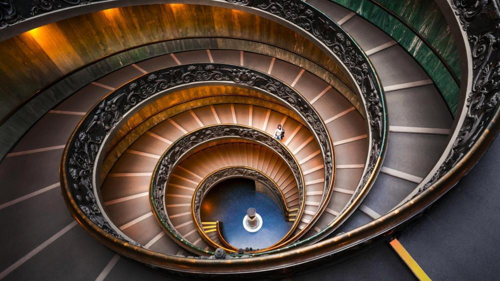 Double spiral staircase at the Vatican Museums wallpaper