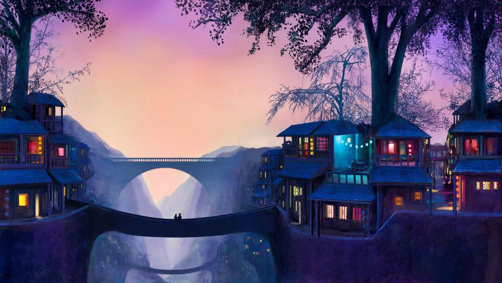 Romantic fantasy landscape wallpaper