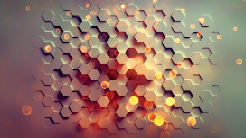 Honey hexagon wallpaper