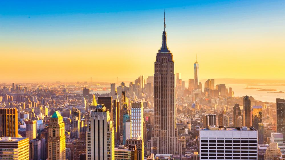 Empire State Building and New York City skyline wallpaper