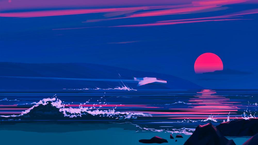 Digital sunset wallpaper