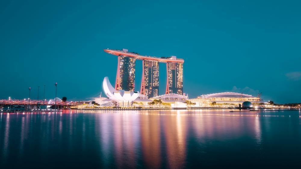Marina Bay Sands night view wallpaper
