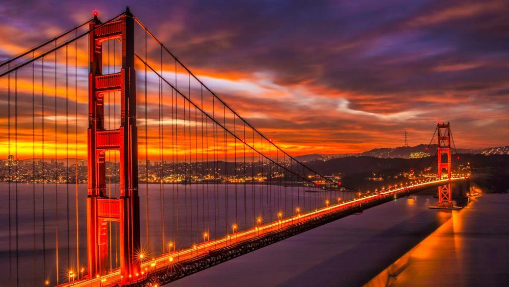 Golden Gate Bridge under the pink skies wallpaper
