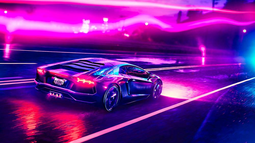 Neon Lamborghini wallpaper