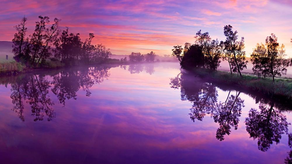 Purple cloudy sky reflection wallpaper