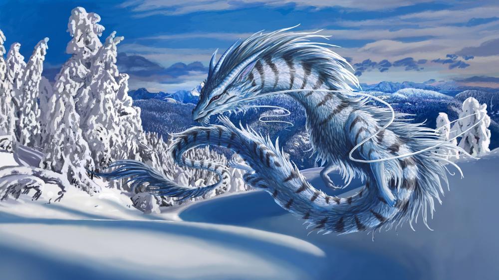 Winter dragon wallpaper
