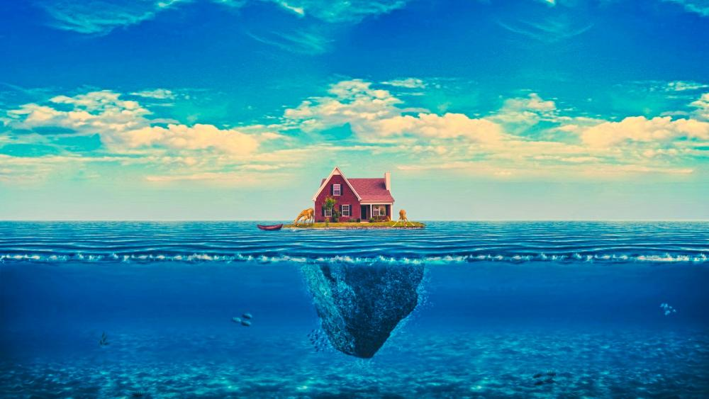 Little island with a house in the middle of the sea wallpaper