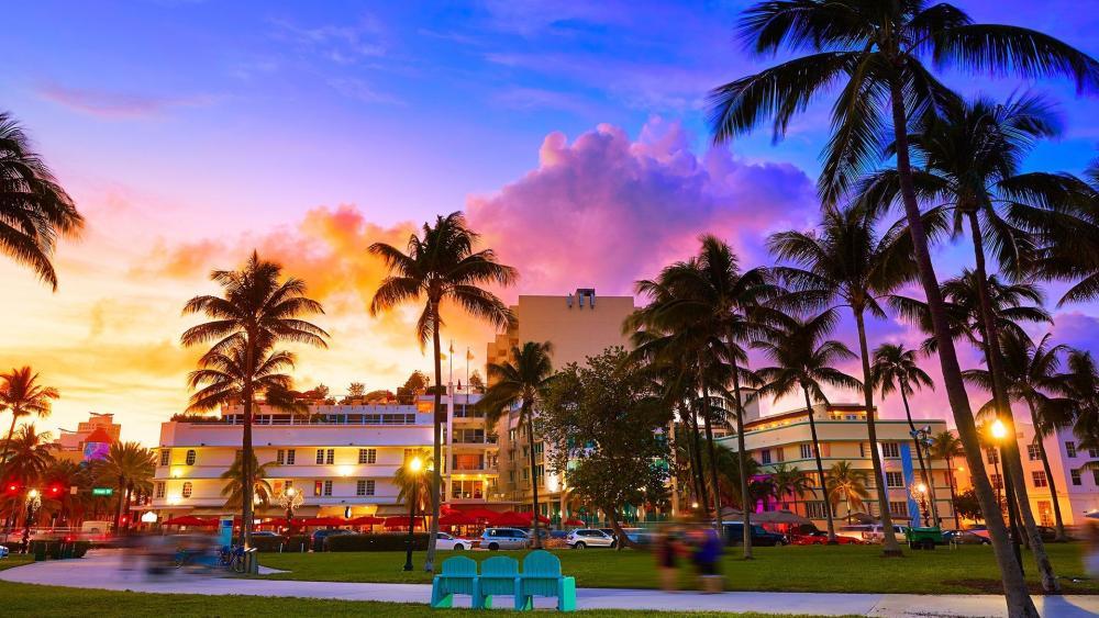 Miami at sunset wallpaper