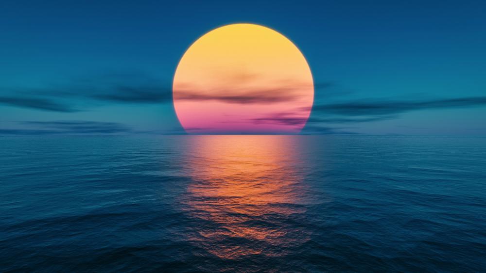 Sunset at the ocean wallpaper