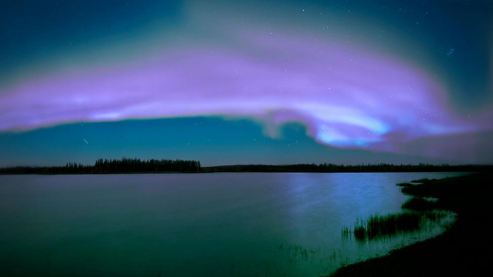 Purple Aurora Borealis wallpaper