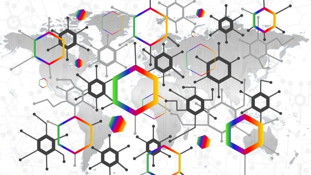 Hexagonal molecule wallpaper