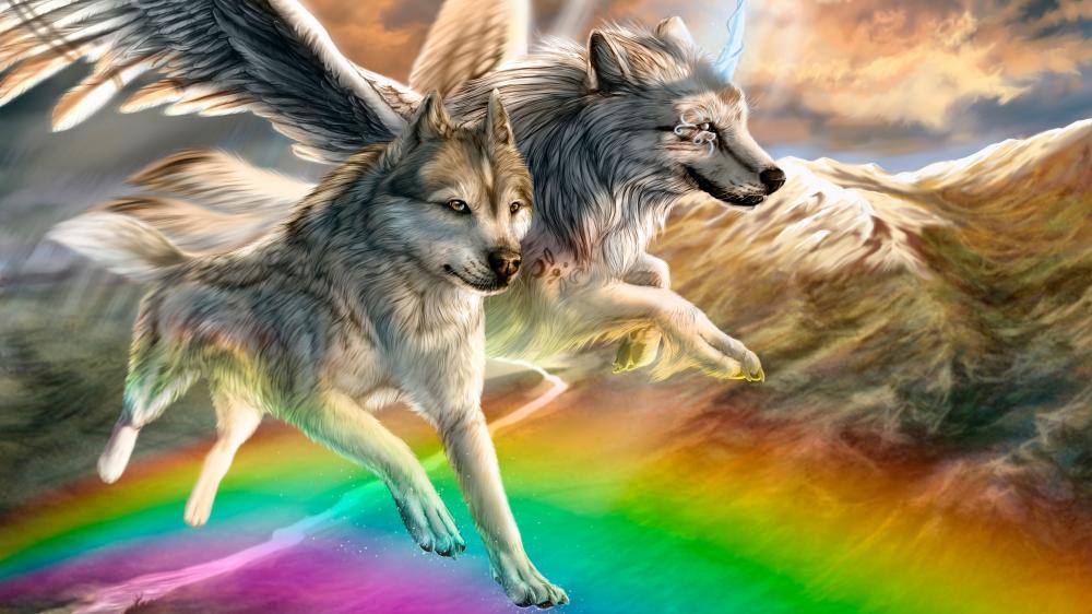 Angel wolves wallpaper