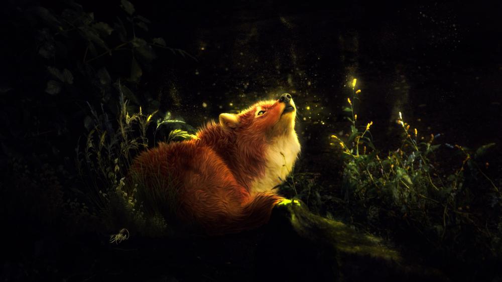 Enchanted fox wallpaper