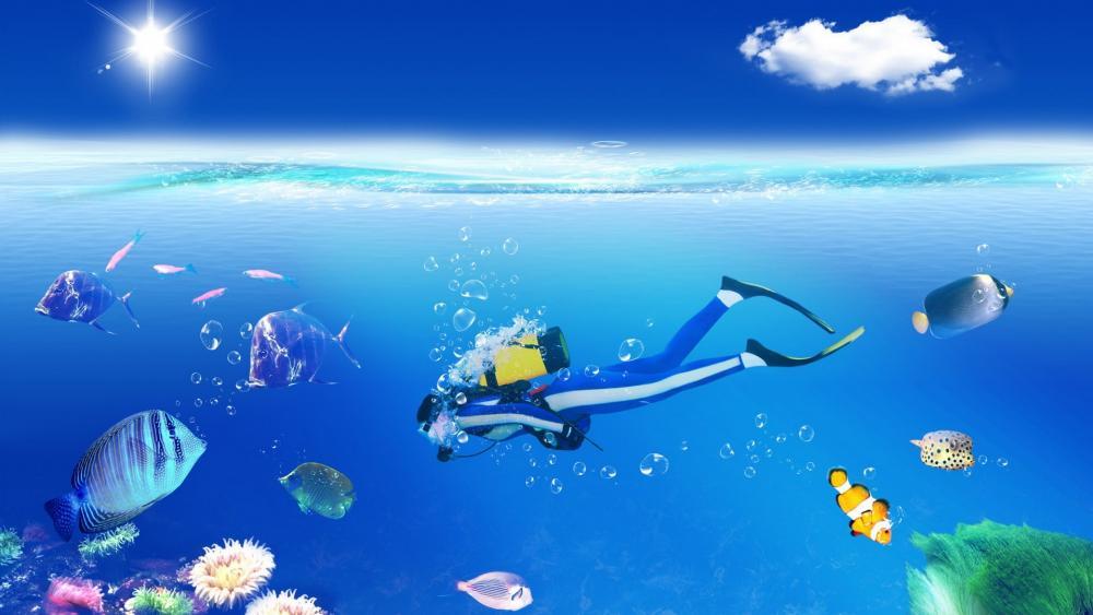 Scuba diving illustration wallpaper