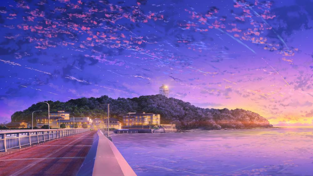 Japanese city anime art wallpaper
