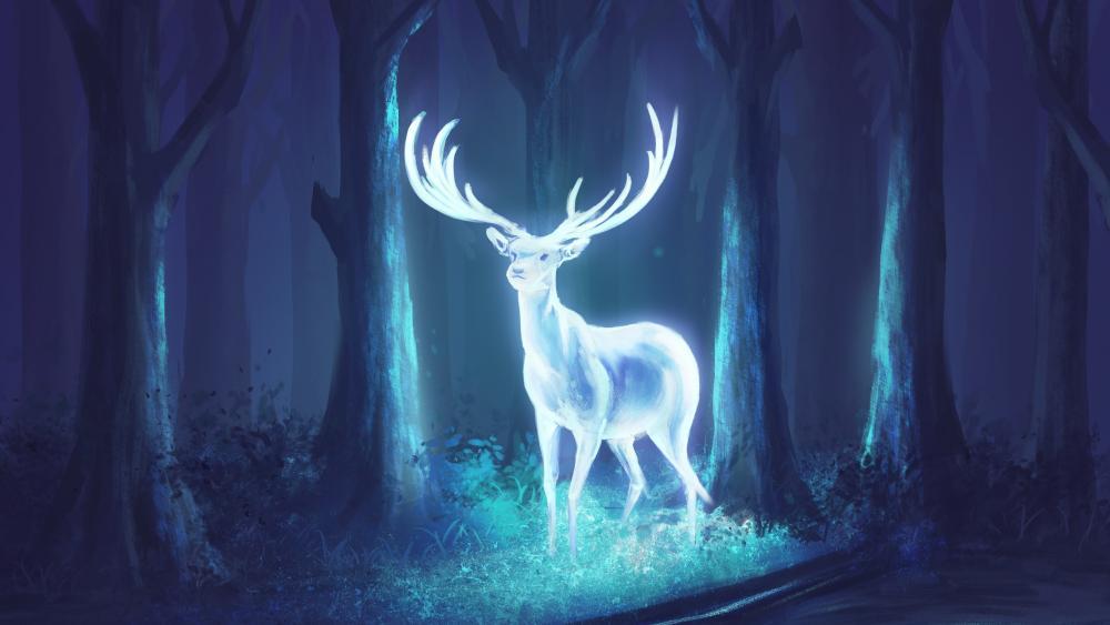 Glowing deer wallpaper