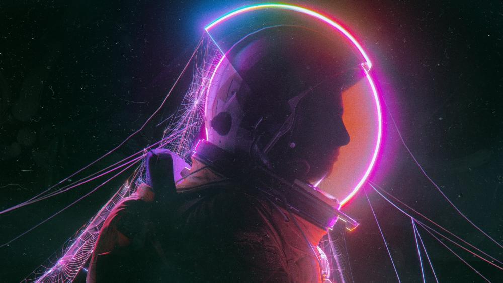 Neon astronaut wallpaper