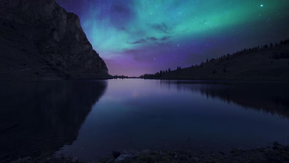 Aurora over Bannalpsee wallpaper