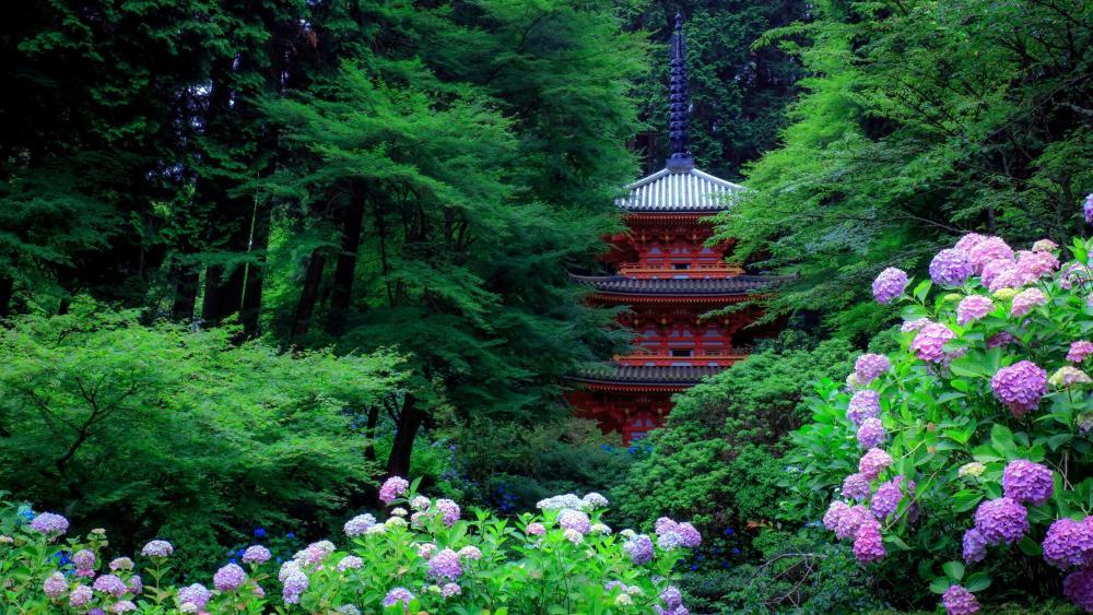 Gansen-ji Pagoda wallpaper