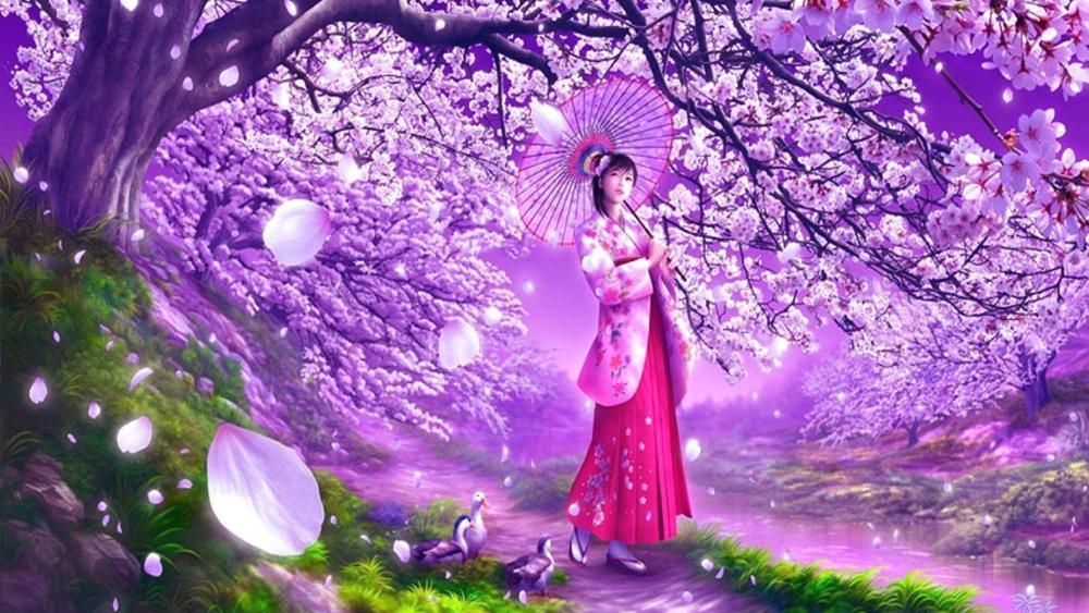 Sakura blossom painting art wallpaper