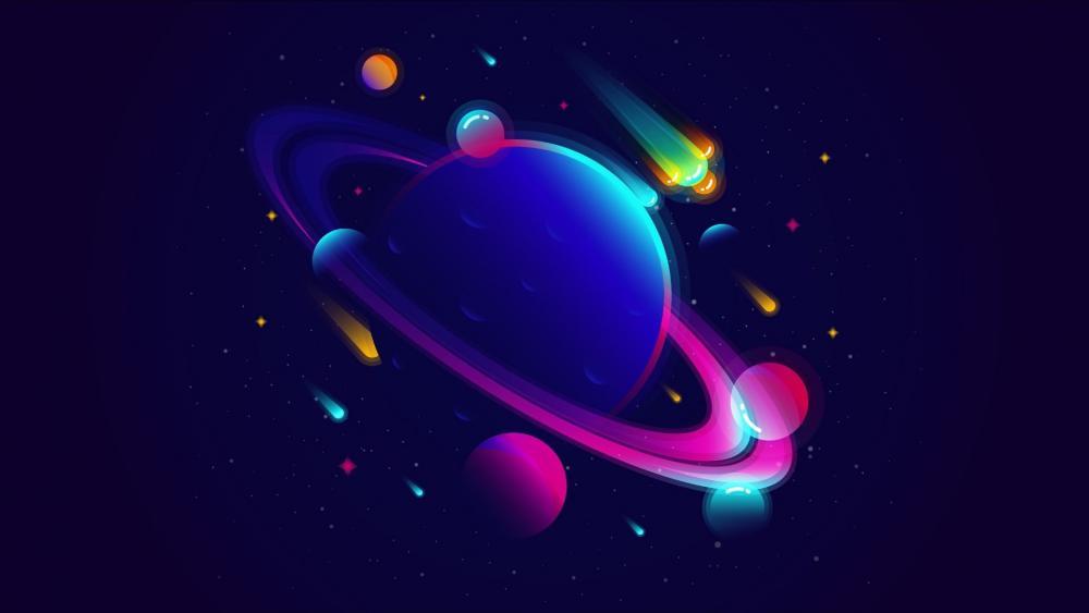 Minimal neon space art wallpaper