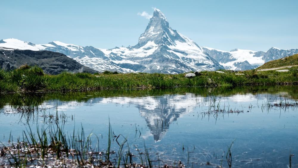 The Matterhorn reflected in the Stellisee wallpaper