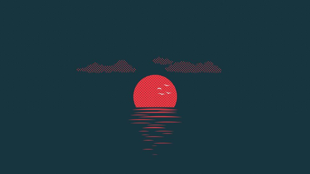 Pixel art sunset wallpaper