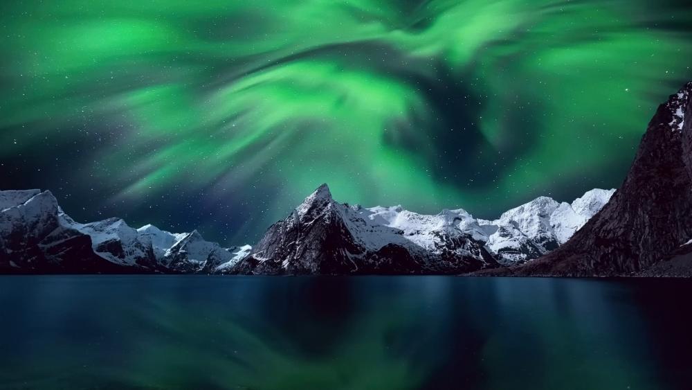 Lofoten aurora borealis wallpaper