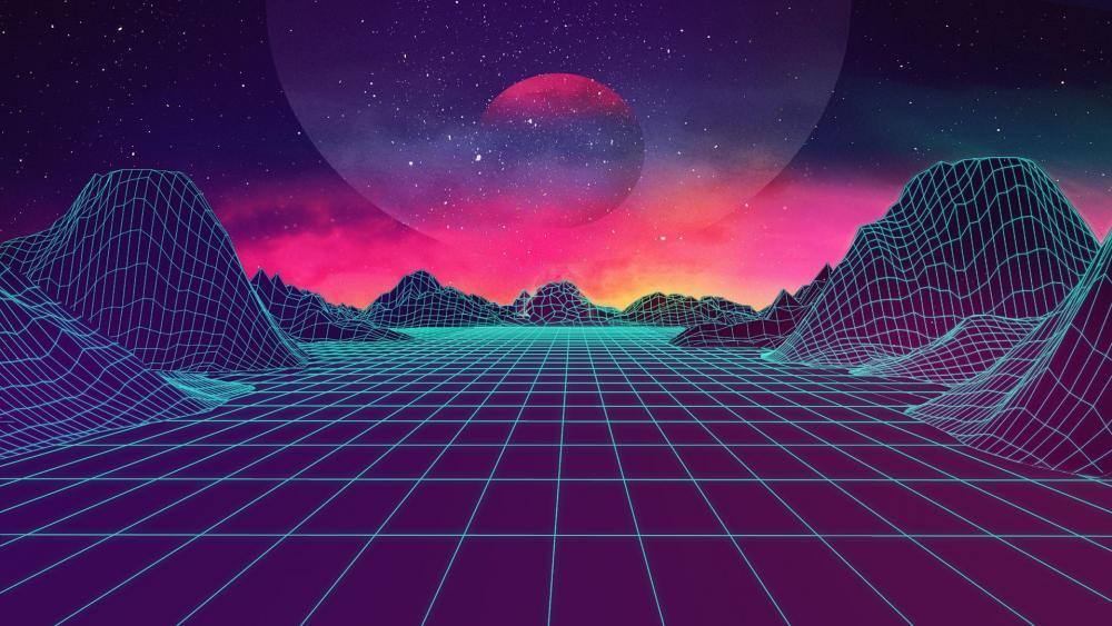 Digital neon landscape wallpaper