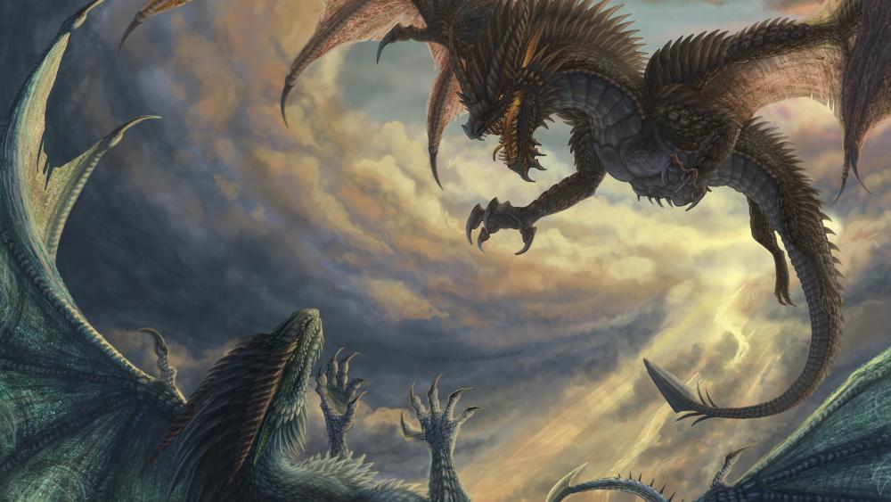 Dragons fight wallpaper