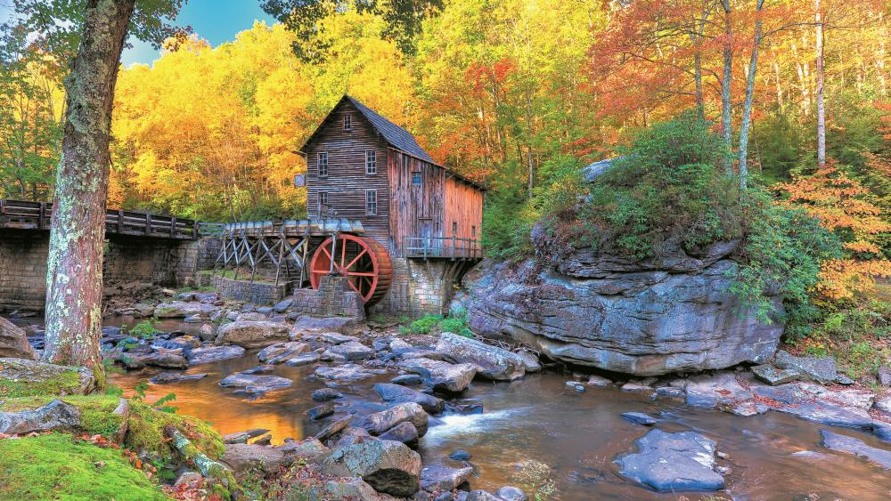 Glade Creek Grist Mill at fall, Babcock State Park wallpaper