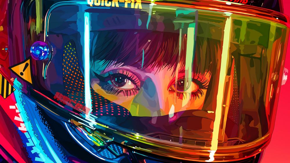 Neon motorcyclist woman wallpaper