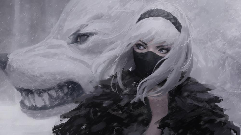 Masked girl with wolf wallpaper