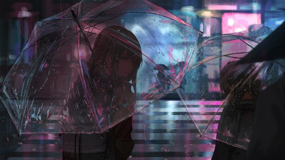 Girl under the umbrella wallpaper