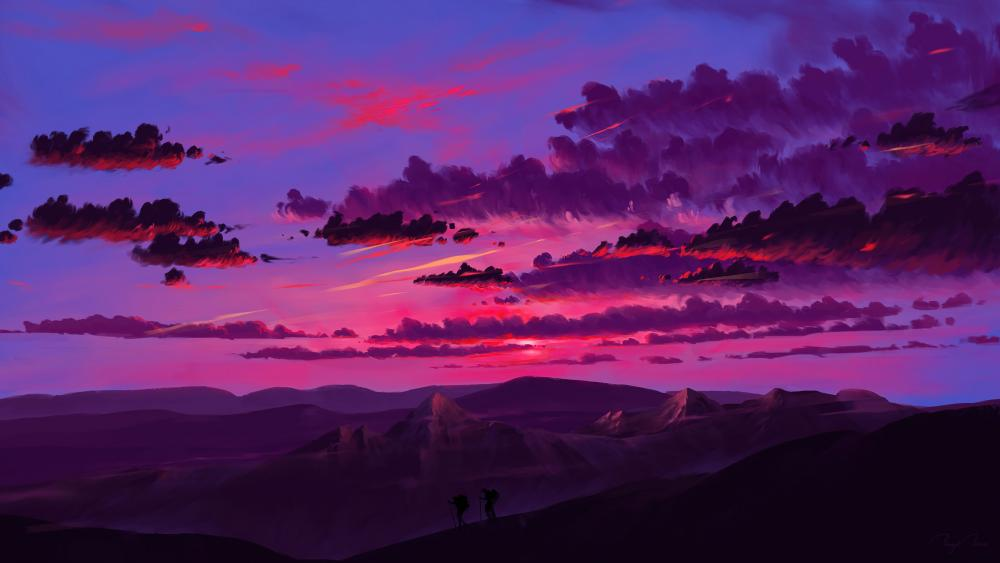 Hiking in the sunset wallpaper