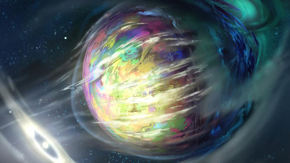 Planet with gases around wallpaper