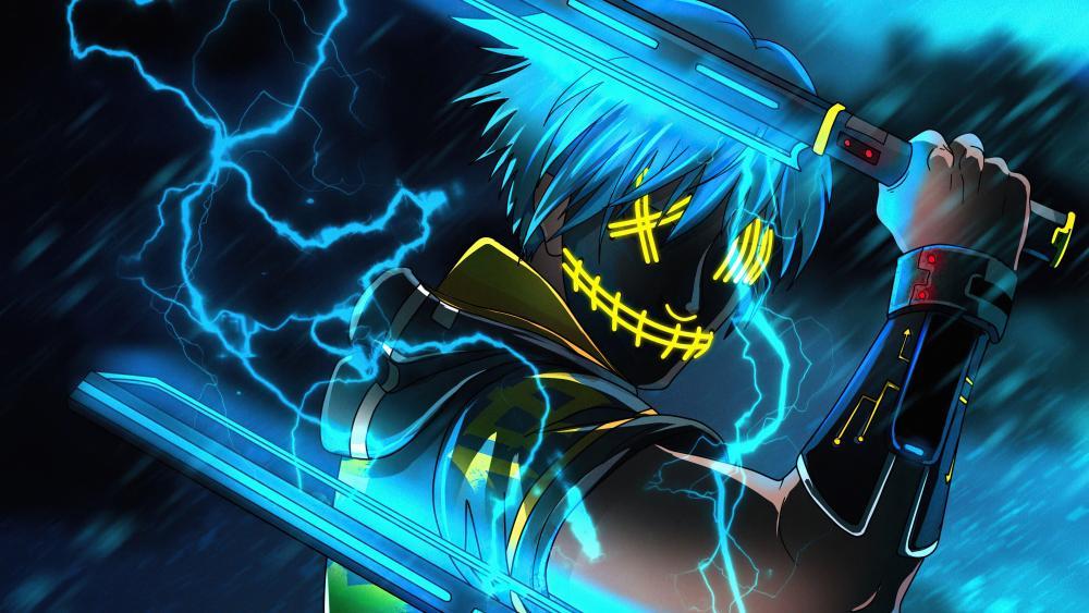 Anime neon masked ninja guy  wallpaper