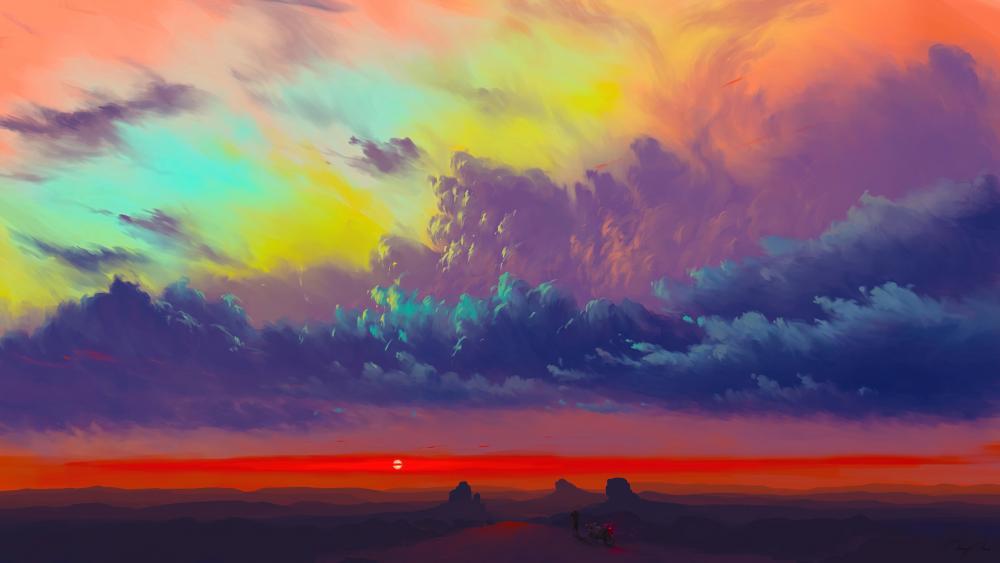Sunset digital art wallpaper