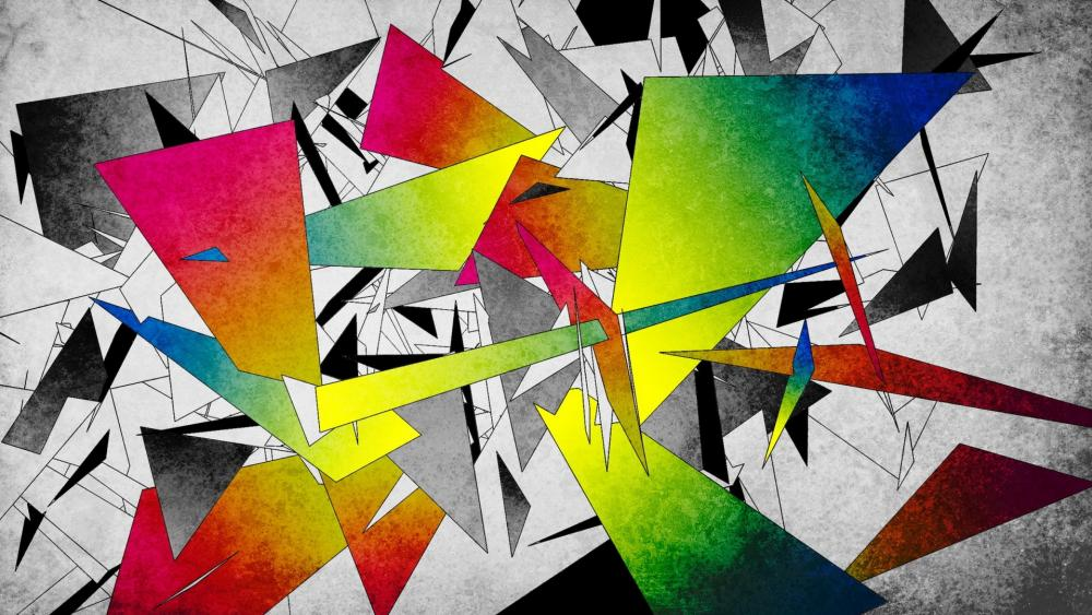 Colorful broken shapes wallpaper
