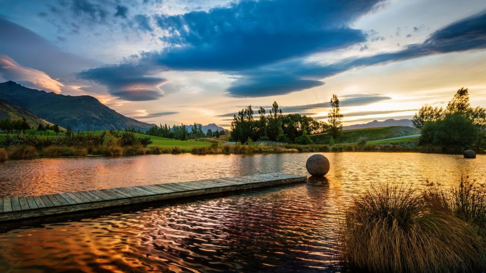 Sunset on lake wallpaper