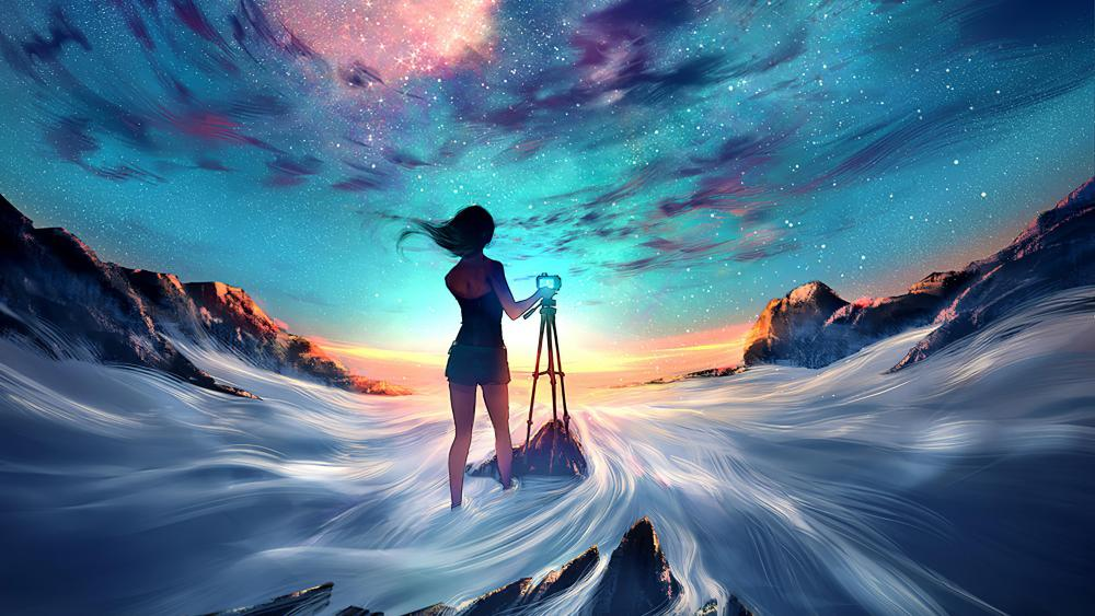 Anime girl taking a photo of the sky wallpaper