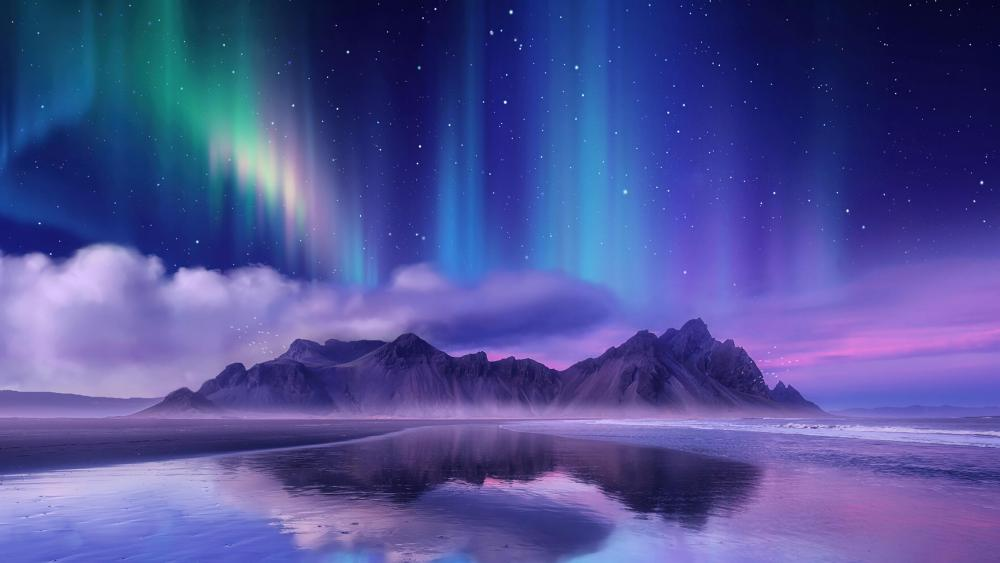 Horny mountains over the polar lights wallpaper