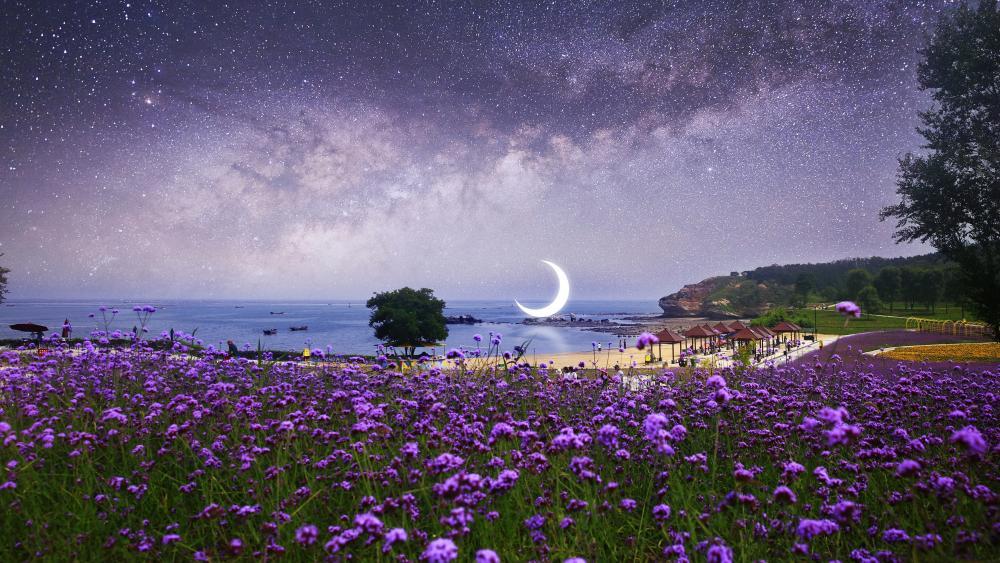 Flower field on the beach under the starry sky dreamy fantasy landscape wallpaper