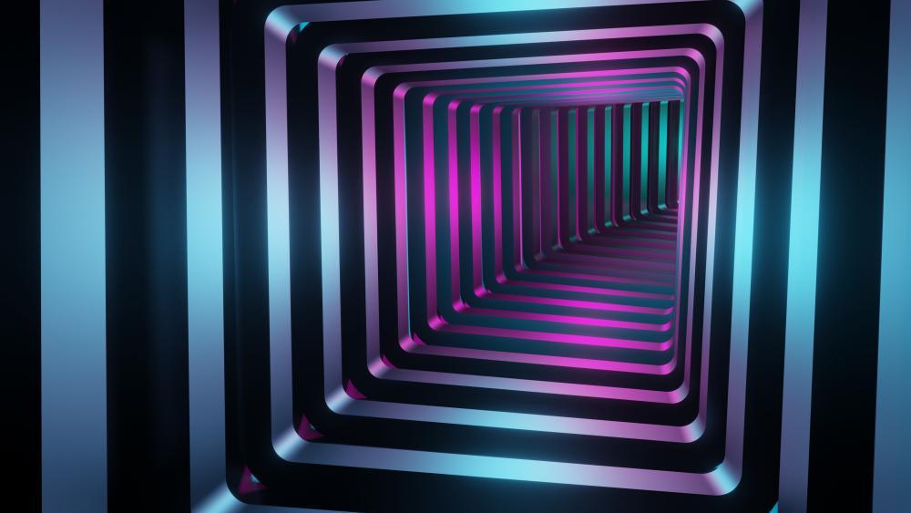 3D neon tunnel wallpaper