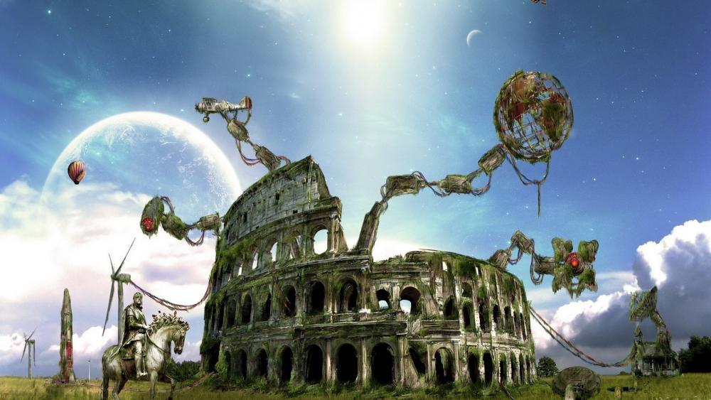 Colosseum fantasy art wallpaper