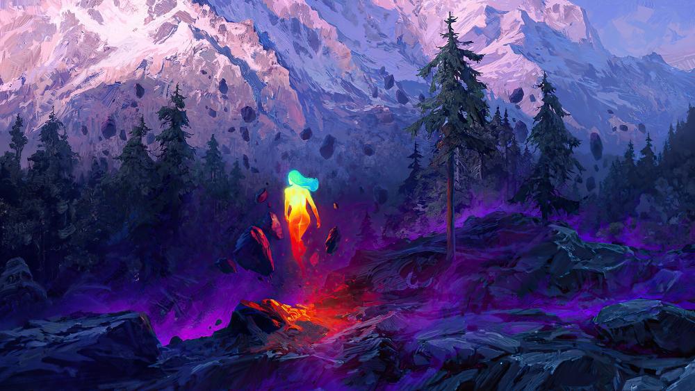 Illuminated woman in mountains wallpaper