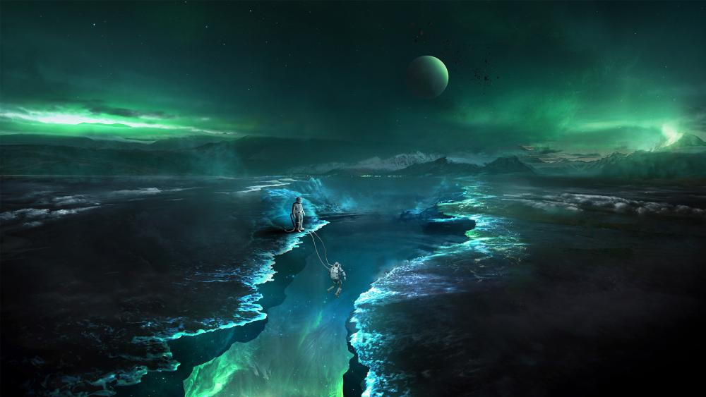 Astronauts on an alien planet wallpaper