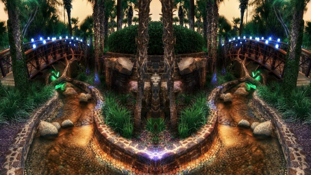 Magical garden wallpaper