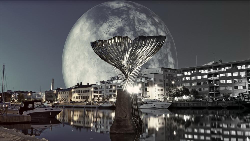 Supermoon above Turku wallpaper