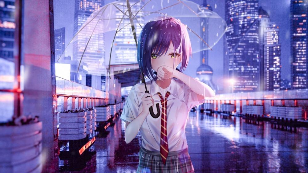 Crying anime girl wallpaper